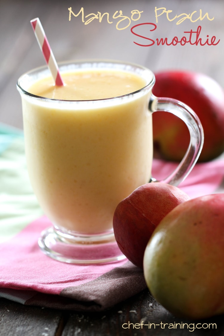 Mango Peach Smoothie - YUMMY! Mangos, peaches, yogurt, & juice make this smoothie so good!