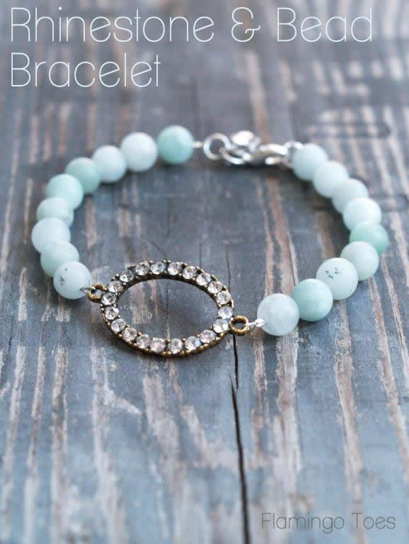 Rhinestone and Bead Bracelet Tutorial - perfect for mom on Mother's Day! Super easy to make, too!!