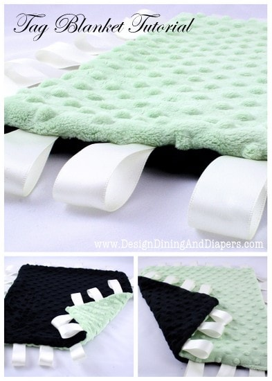 Tag Blanket Tutorial! Learn how to make this super cute, that babies will love blanket on { lilluna.com }