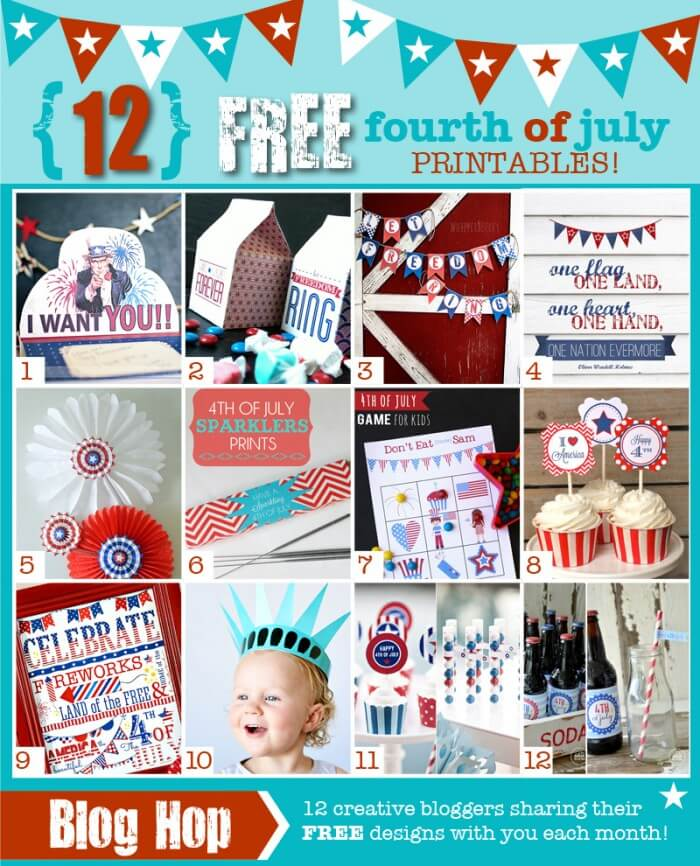 12 FREE Fourth of July Printables!! A great collection of prints to use for lots of different things!