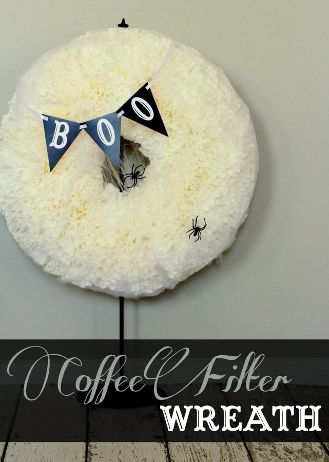 BOO Coffee Filter Wreath tutorial on { lilluna.com } Takes a little time but is so fun once you've added some spiders & a BOO banner!