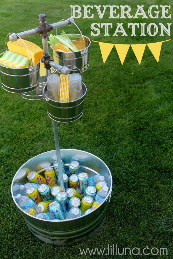 Beverage Station Tutorial on { lilluna.com } Great for parties and can hold anything you'd like!