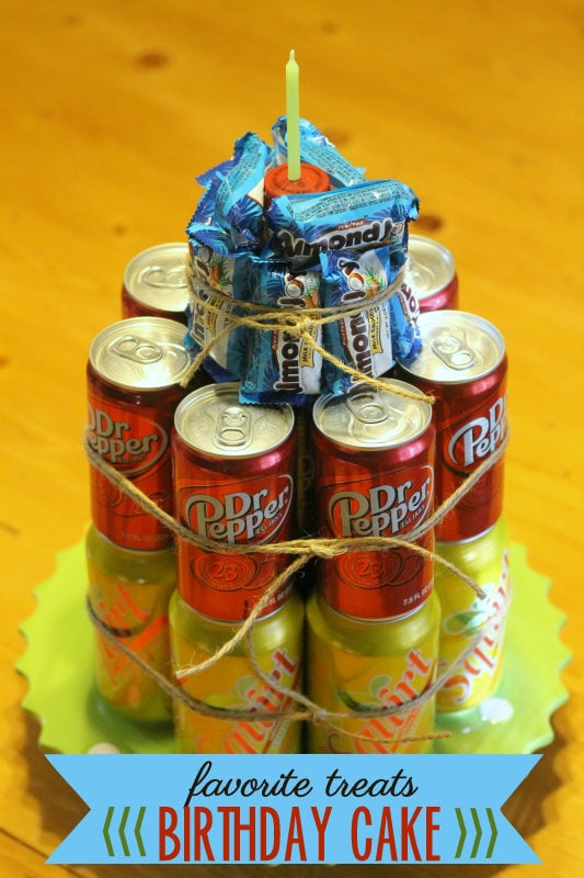 Favorite Treats Birthday Cake - made of soda and candy. LOVE it! Such a great gift idea!