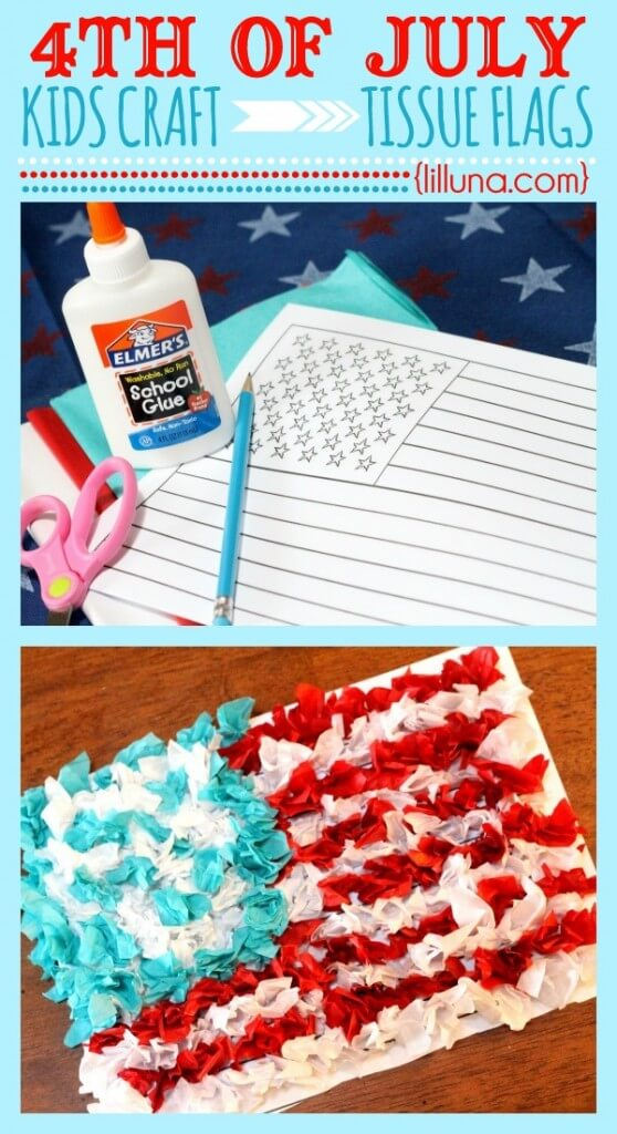 Fourth of July Tissue Flag Kids Craft! Easy to make and super festive!!