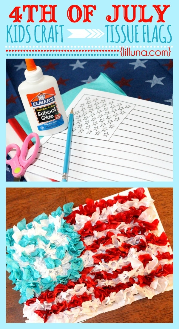 Fourth of July Tissue Flag Kids Craft