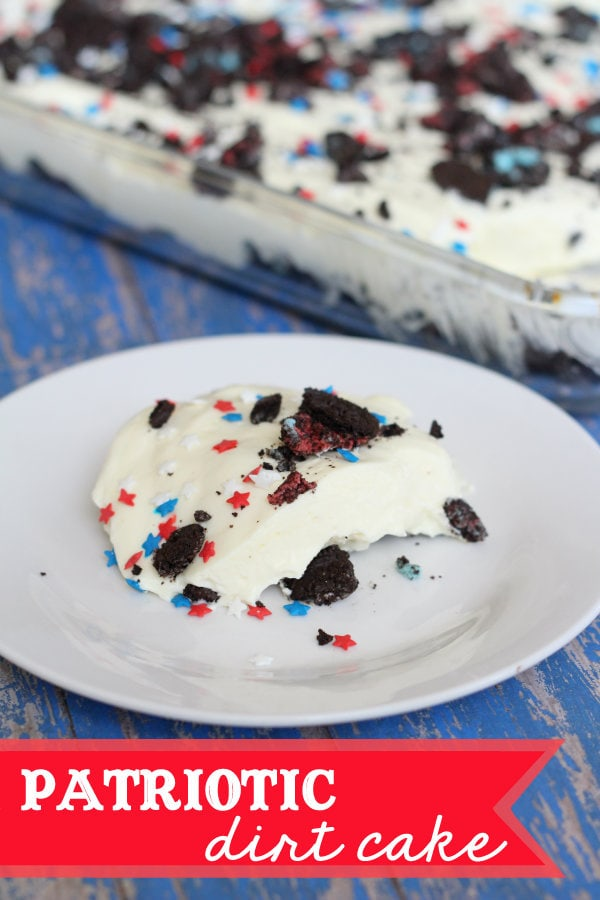Patriotic Dirt Cake recipe! Crushed oreo's mixed with pudding, cream cheese, & cool whip, topped with patriotic sprinkles!