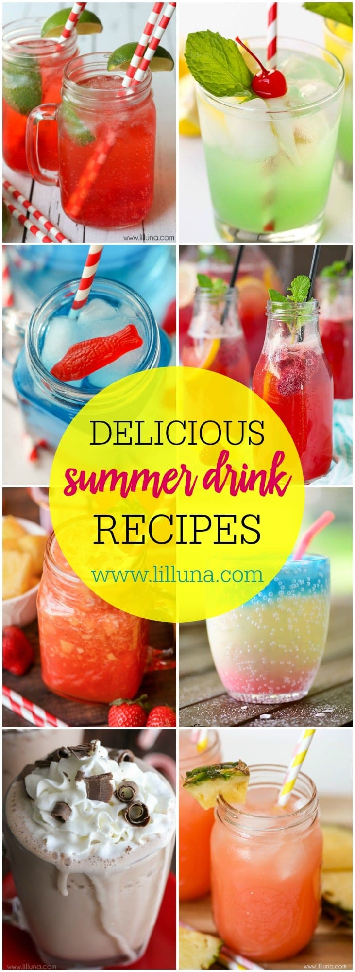 A delicious and cool collection of Summer Drink Recipes perfect to try out on a hot, summer day, all of which are kid-friendly!