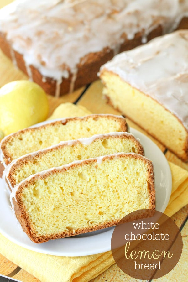 White Chocolate Lemon Bread recipe on { lilluna.com } - No yeast involved!! And, so soft! Made with lemon cake mix, sour cream, lemon juice & zest and white chocolate pudding mix!