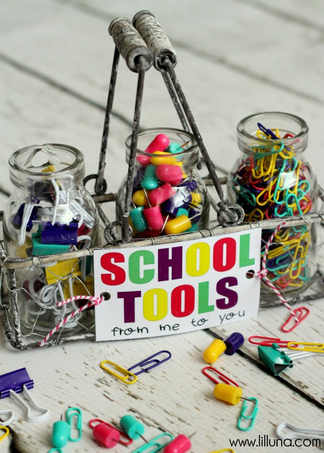 ADORABLE School Tools Set and Free Print perfect for teacher { lilluna.com } Just fill with your teachers favorite supplies!