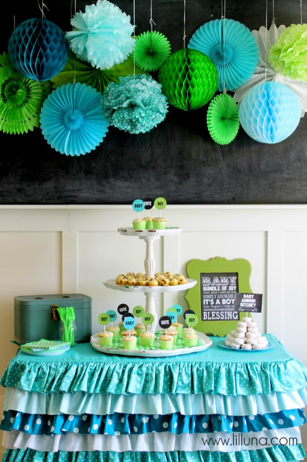 Blue Green Baby Shower Decorations 599 x 900
