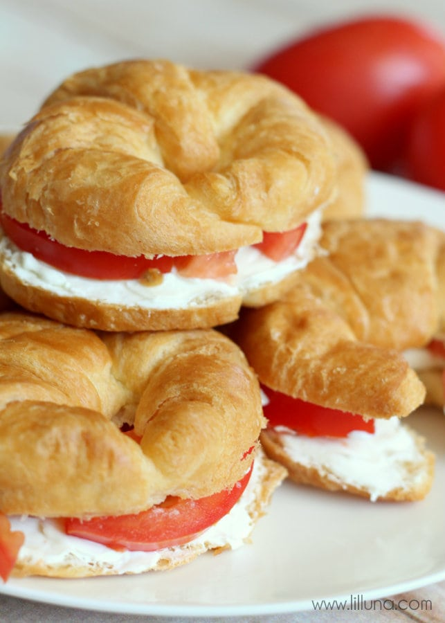 Super easy and yummy Cream Cheese Croissant Sandwiches. Put your favorite ingredients in it or just have yummy cream cheese & tomatoes!