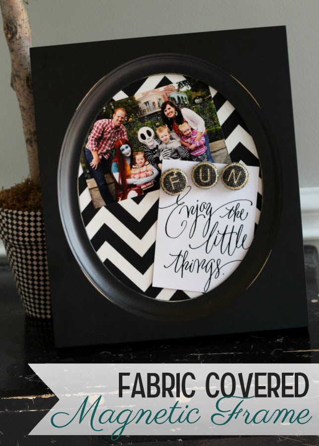 Fabric Covered Magnet Frames on { lilluna.com } Such an inexpensive way to decorate a frame and makes cute decor and gifts!
