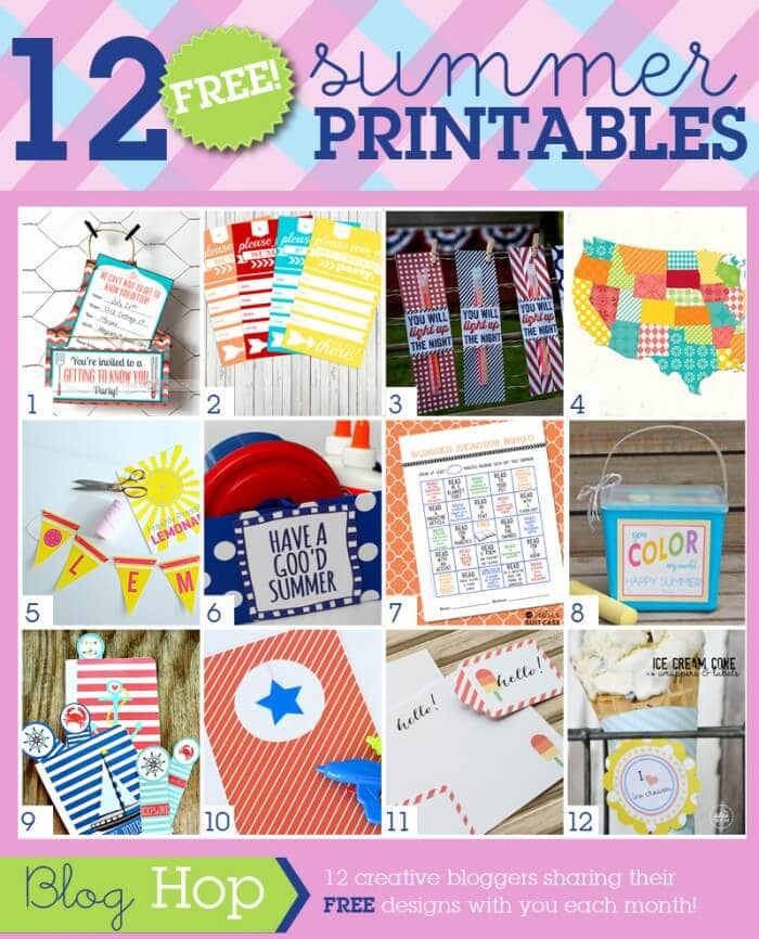 July Grid {Summer} 12 FREE Summer Printables!