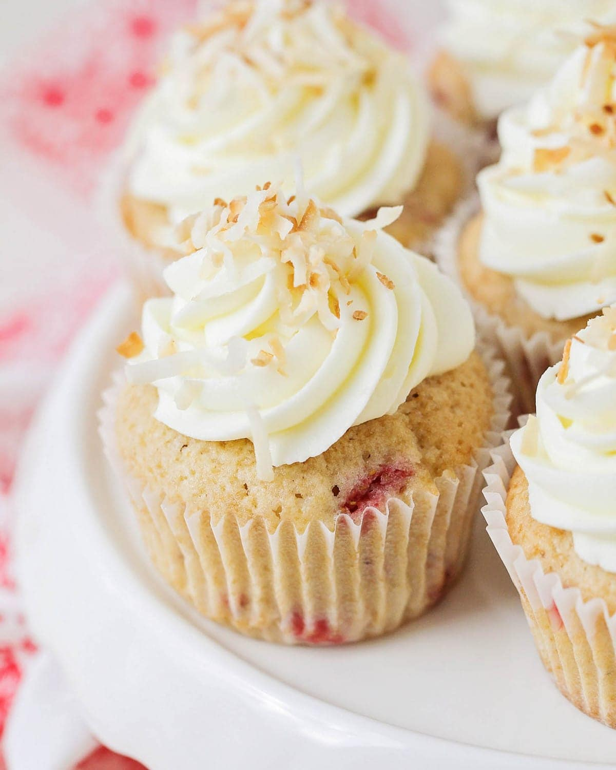 Strawberry cupcake recipe - topped with cream cheese frosting and coconut