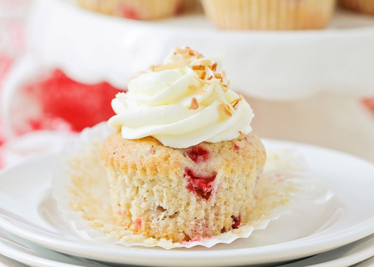 Strawberry Cupcakes on white plate