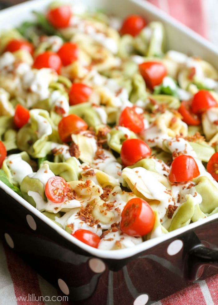 Super YUMMY and easy Tortellini Salad filled with tortellini, salad, ranch, tomatoes and bacon bits - perfect for summer time!