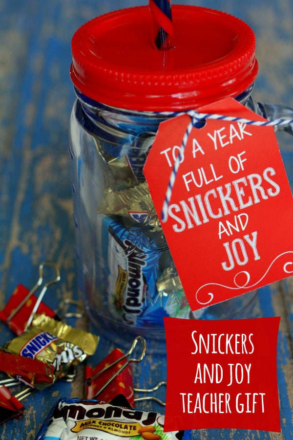 Snickers and Joy Teacher gift!! This is such a cute idea! A fun cup filled with snickers and almond joys!