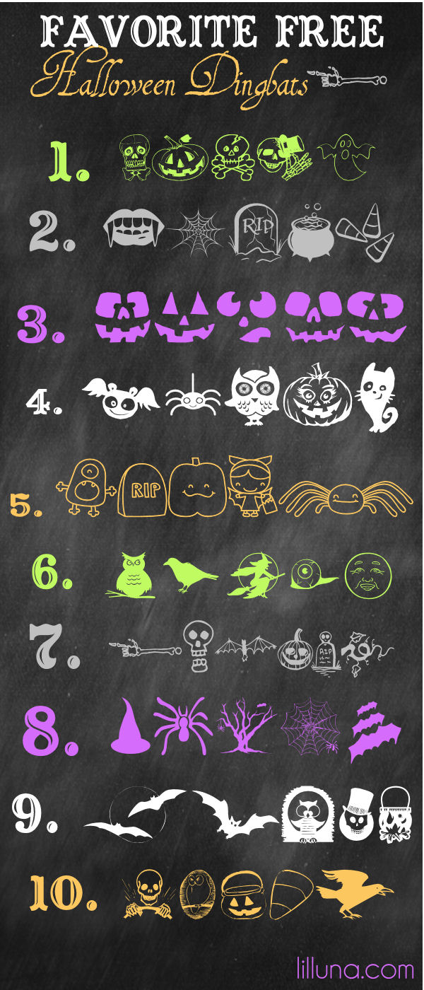 Favorite Free Halloween Dingbats on { lilluna.com } So many spooky dingbats to download and use!