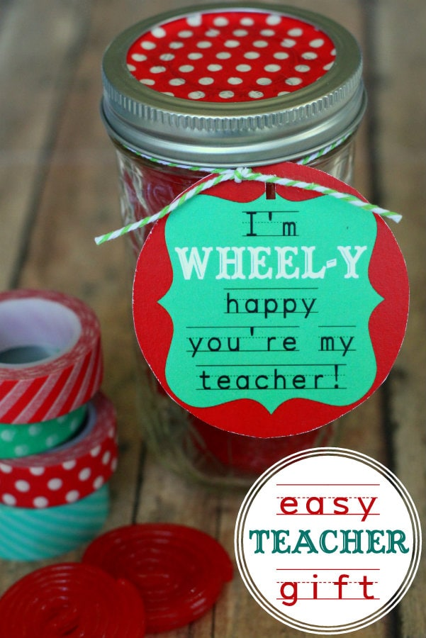 Wheely Happy Gift with free tags { lilluna.com } Cute & simple idea. Jar is filled with licorice wheels.