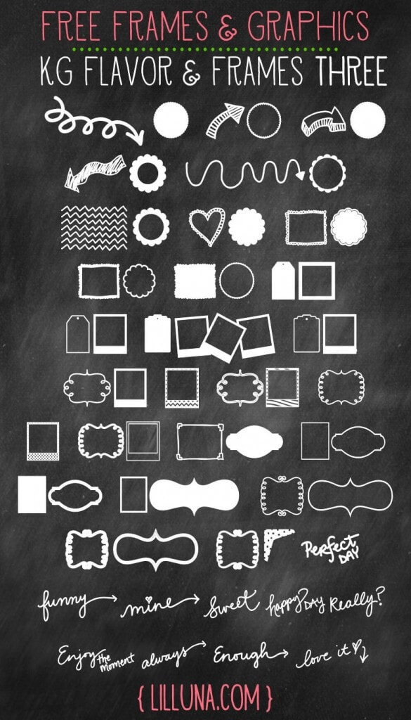 CUTE and FREE Frames & Graphics to use in your designs. So many uses!!