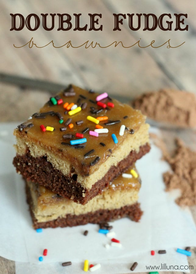 Super delicious Double Fudge Brownie recipe on { lilluna.com } Layers of yumminess make these brownies a hit!