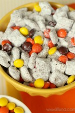 YUMMY Reeses Pieces Puppy Chow on { lilluna.com }