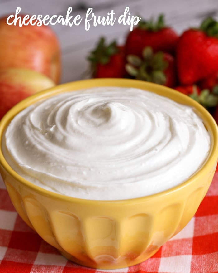 Cheesecake Fruit Dip - just 5 ingredients - cream cheese, vanilla, sugar, marshmallow fluff, and cool whip and one of the best fruit dip recipes you'll ever try!