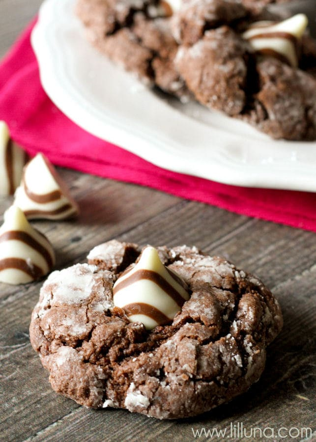 Soft and Gooey Chocolate Hug Cookies - simple AND delicious! { lilluna.com } Chocolate cake mix combined with a few ingredients make these so soft & yum!