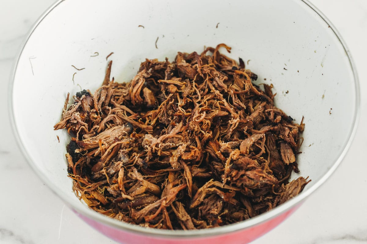 Shredded beef for green chili beef burrito