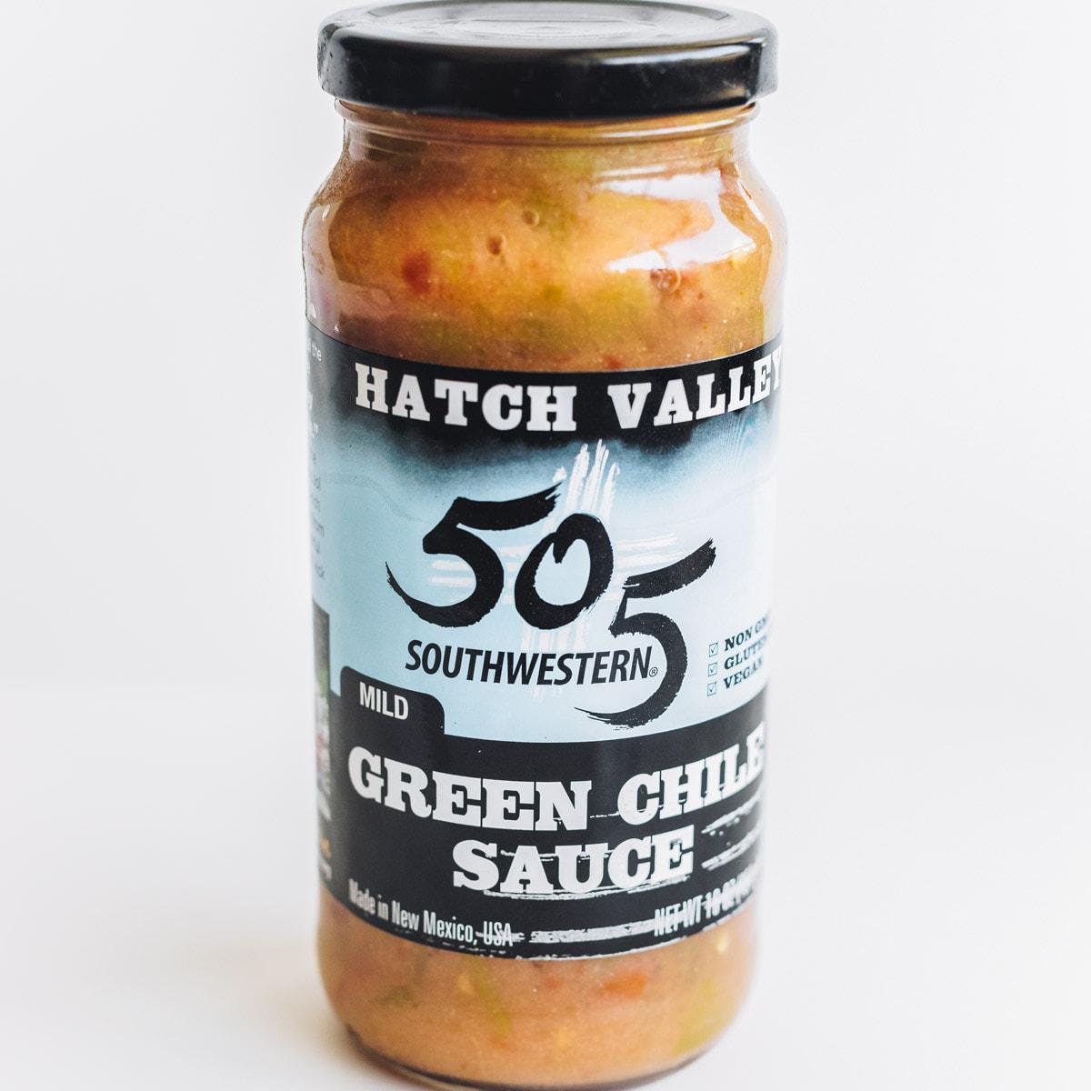 A jar of 505 green chile sauce for green chili burrito recipe