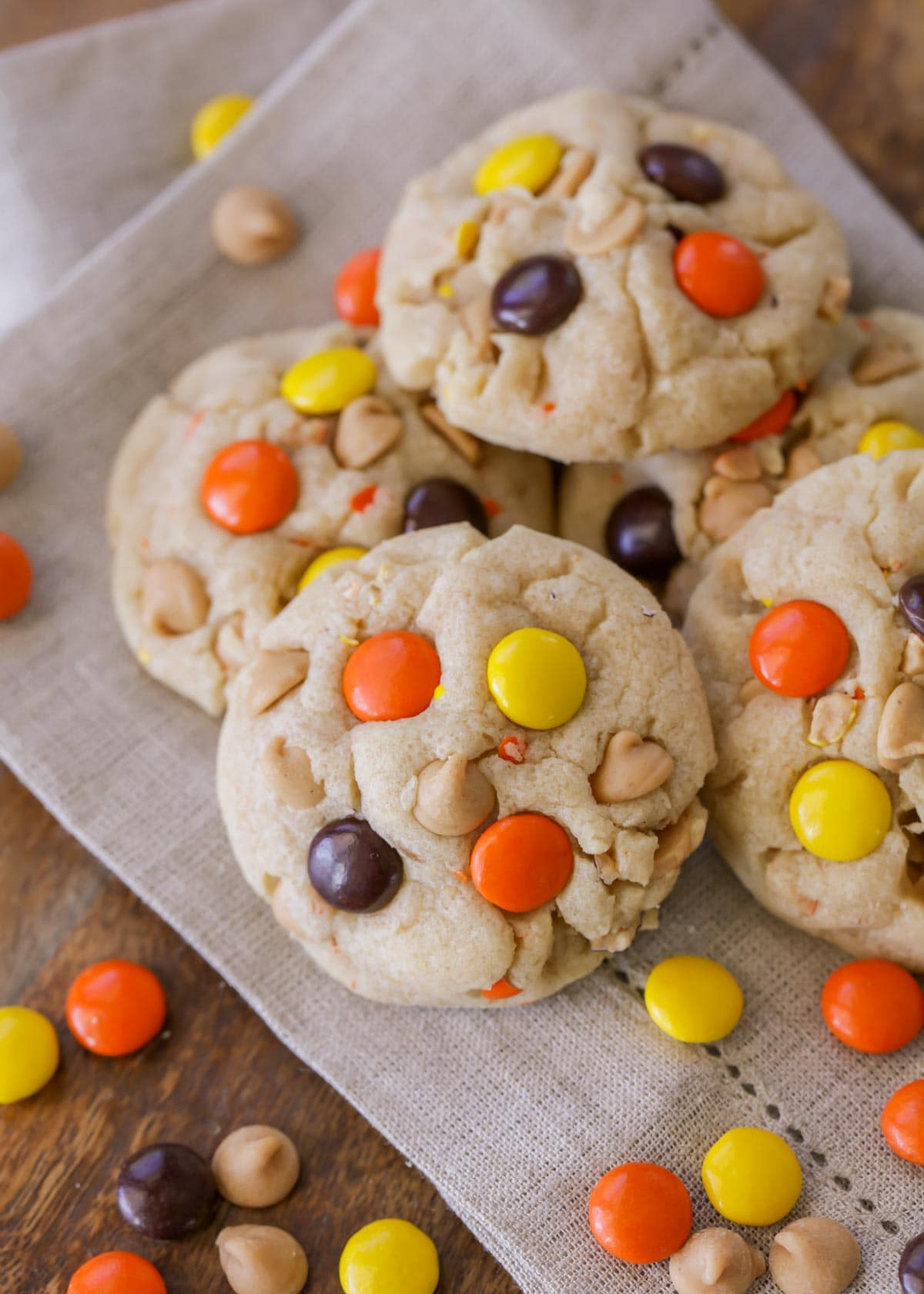 A stack of Reese's Pieces Cookies