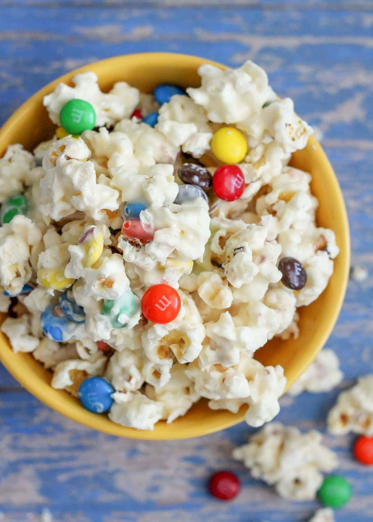 White chocolate popcorn recipe with M&Ms
