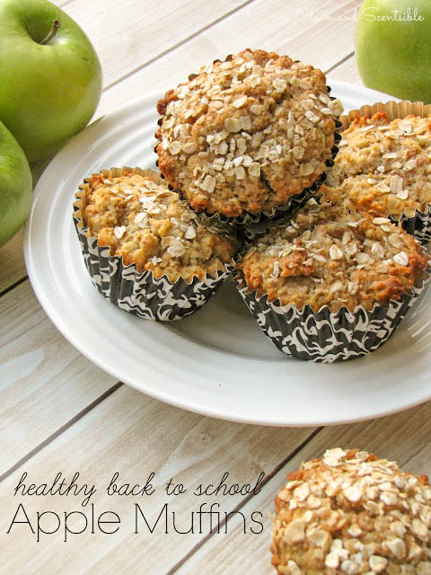 Healthy Apple Muffins Recipe - perfect for an after school snack for the kids! { lilluna.com } Full of healthy ingredients - oats, apples, bran cereal, yogurt.