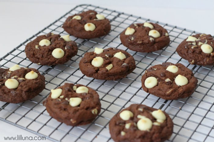 Double Chocolate Mint Cookies { lilluna.com }
