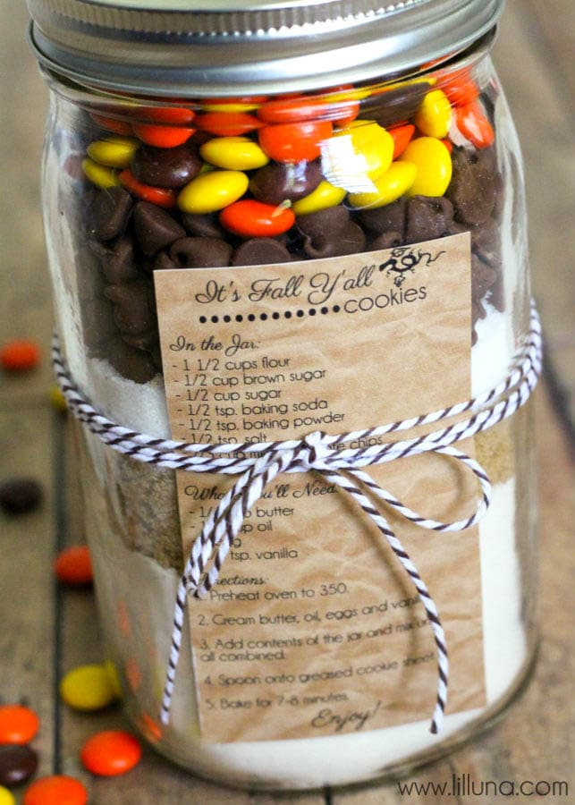 Fall Cookies in a Jar Gift { lilluna.com } #gift