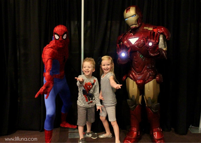 LIly & Gav with Spidey and IronMan