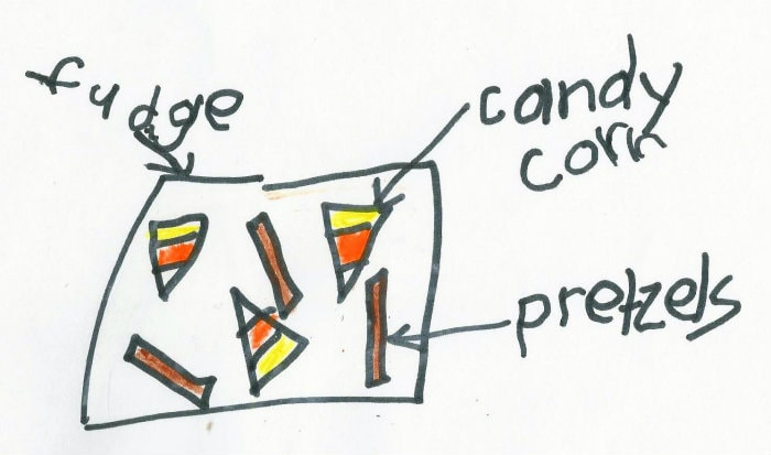 The game plan - candy corn pretzel fudge
