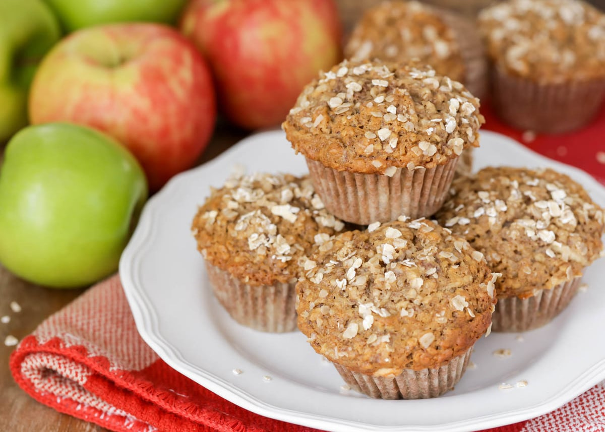 White plate full of healthy apple muffins