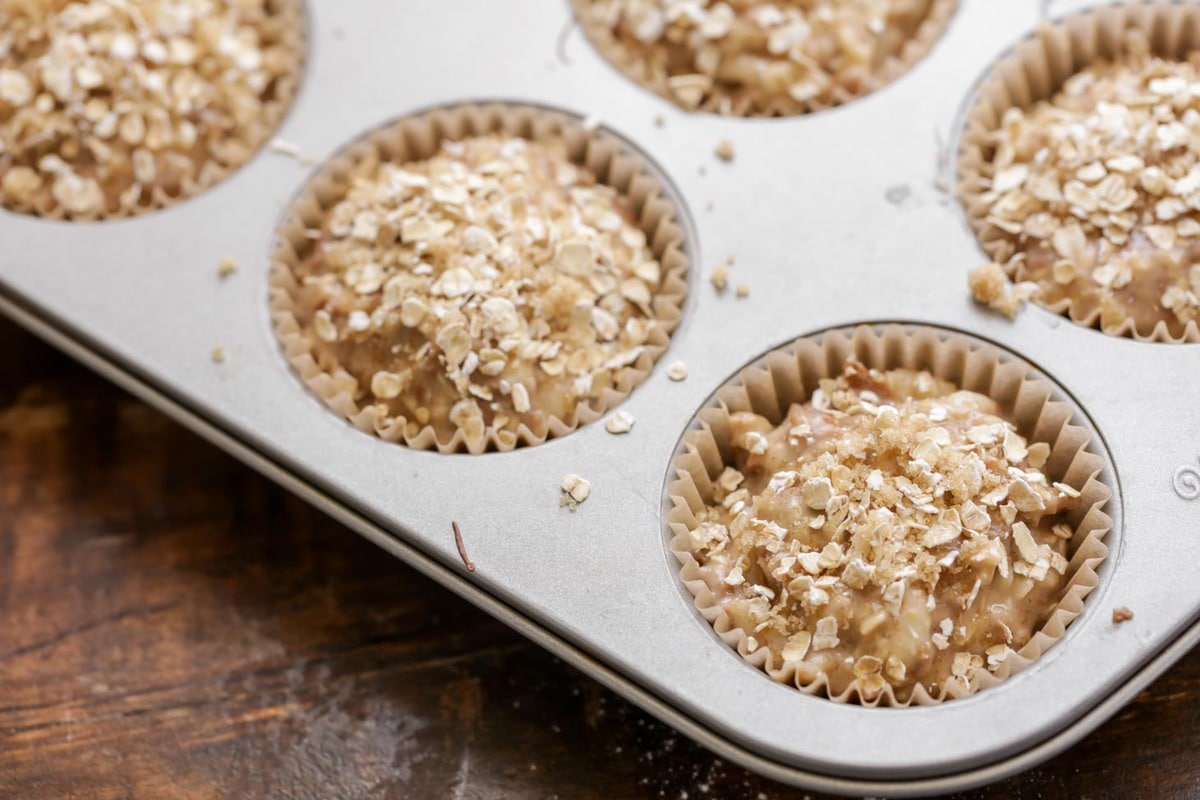 Apple Oatmeal Muffins in muffin tin