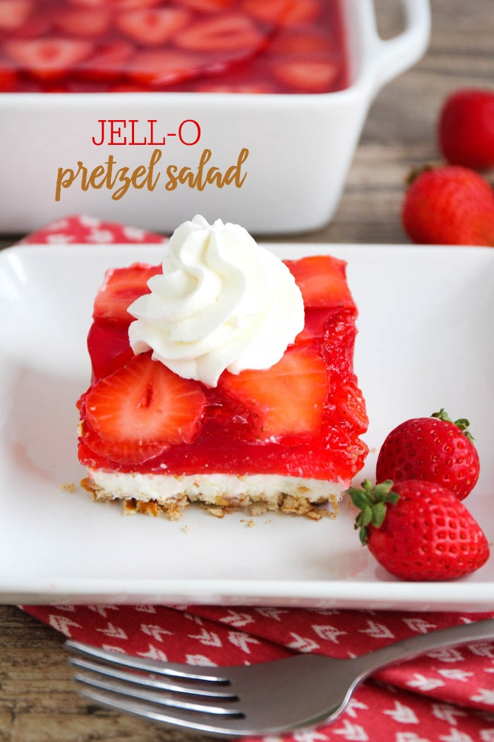 JELLO Pretzel Salad - a class holiday and summer treat with a pretzel crust, cream cheese layer and strawberry jello topping!