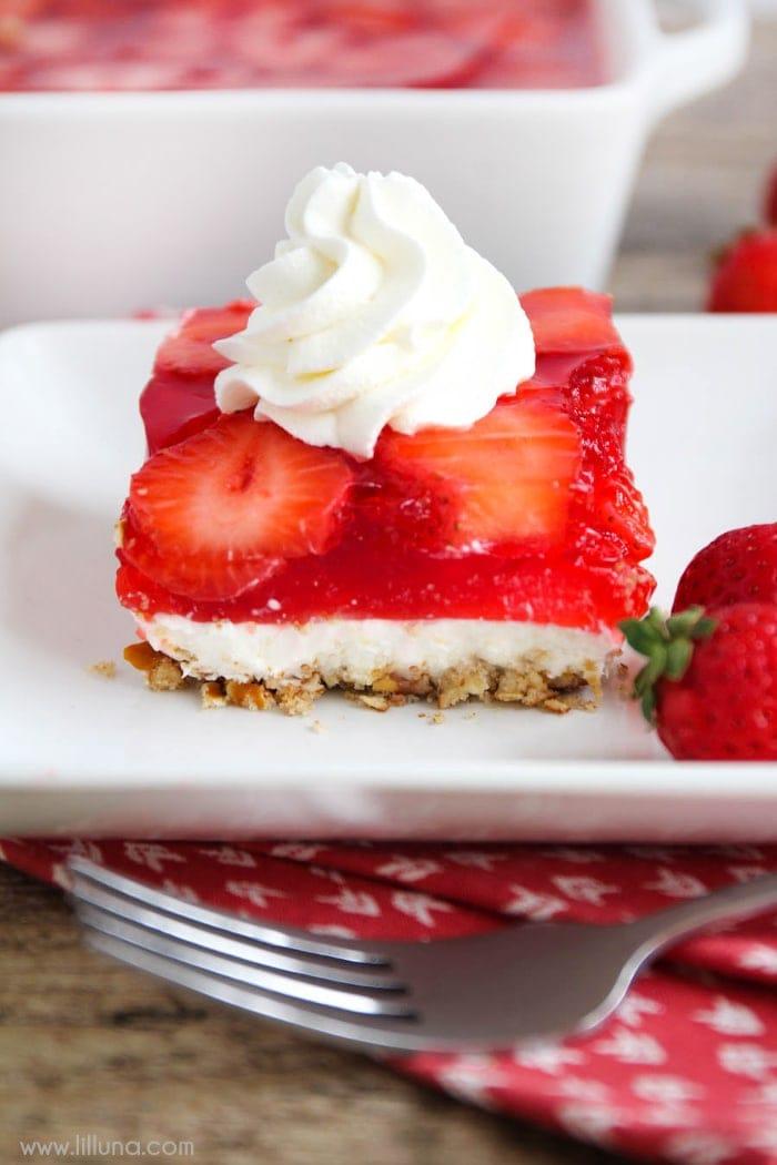Layered Strawberry Jello Pretzel Salad Recipe Lil Luna