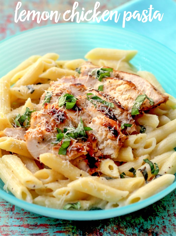 Lemon Chicken Pasta - Chicken and pasta covered in a delicious sauce made from lemons, whipping cream, cheeses, and fresh basil. You can't go wrong with this recipe!!