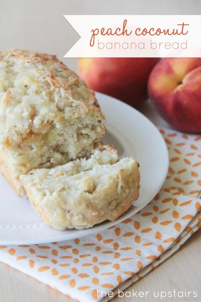 Peach Coconut Banana Bread Recipe!! A delicious and soft bread with yummy hints of peach, bananas, and coconut!