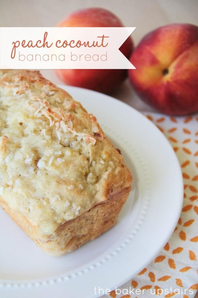 Delicious Peach Coconut Banana Bread Recipe - YUM! Ingredients include mashed bananas, shredded coconut, & diced peaches!