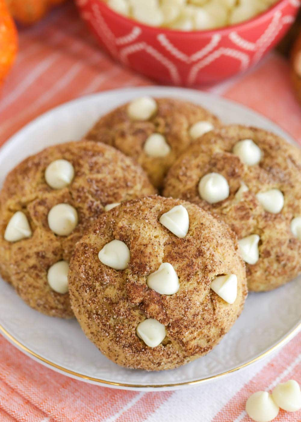 Pumpkin snickerdoodles with white chocolate chips