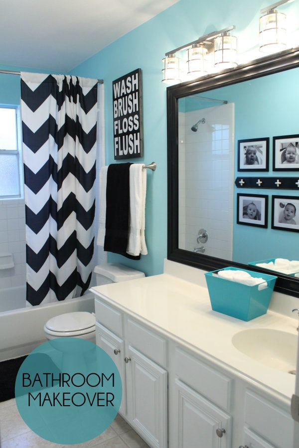 Bathroom makeover for Best brand of paint for kitchen cabinets with aqua bathroom wall art