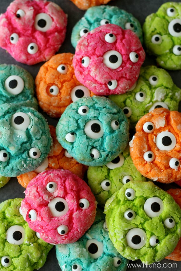 Gooey Monster Cookies Recipe on { lilluna.com } ADORABLE!! These are sure to be a hit with the kids!
