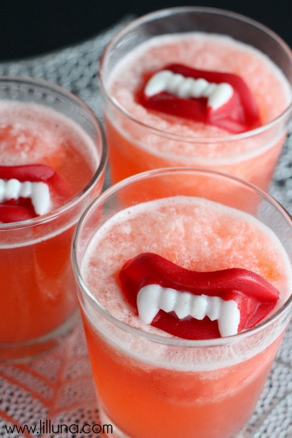 halloween slushy punch recipe with wax lips on lillunacom ingredients include strawberry - Spiked Halloween Punch Recipes
