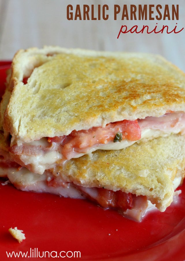 Our new favorite sandwich - Garlic Parmesan Panini! Few ingredients and so easy to make!!