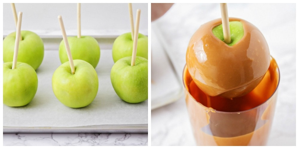 Apples on sticks and dipped in caramel